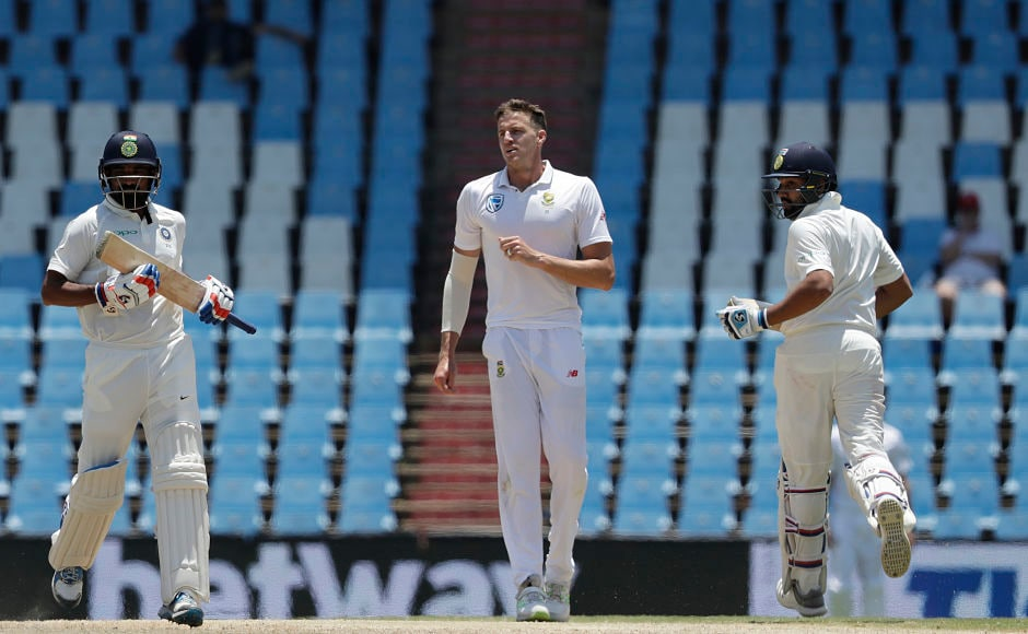 India's Mohammed Shami and Rohit Sharma fought back with a 54-run stand but South Africa didn't let the game drift away. AP