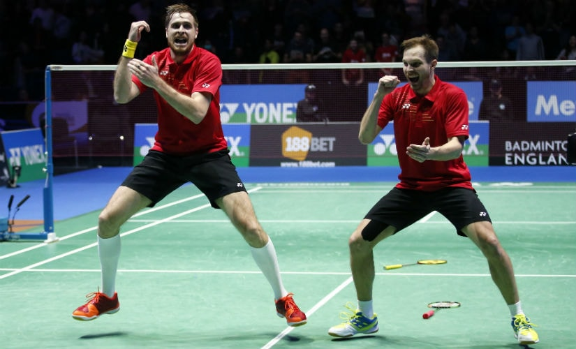 Russia's Vladimir Ivanov and Ivan Sozonov celebrate victory in the men's doubles final of the All England Open 2016.