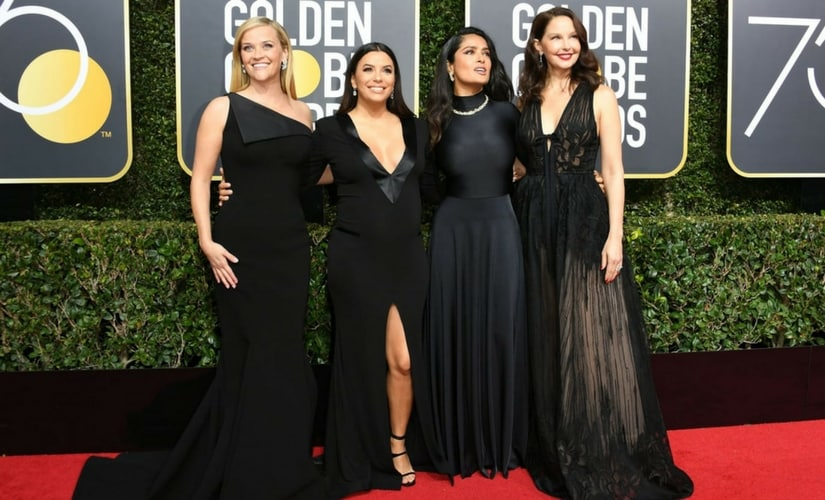 Reese Witherspoon, Eva Longoria, Salma Hayek and Catherine Zeta-Jones wear black at the Golden Globes red carpet/Image from Twitter.
