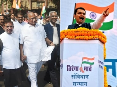 Opposition leaders at the Save Constitution march and Devendra Fadnavis addressing Tiranga Yatra.