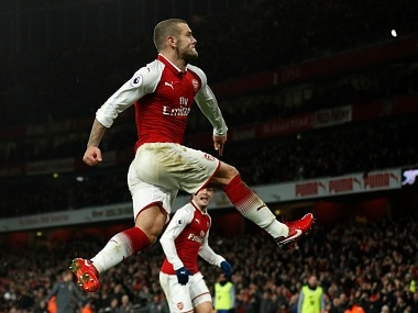 Jack Wilshere celebrates his first Premier League goal in two-and-a-half years. AFP