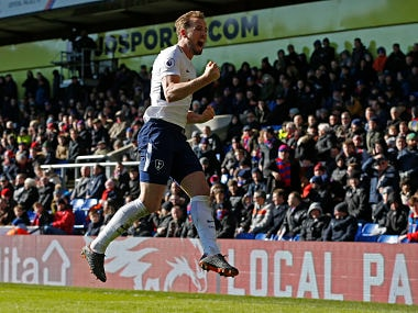 Tottenham Hotspur's English striker Harry Kane celebrates after scoring the opening goal during the English Premier League football match between Crystal Palace and Tottenham Hotspur at Selhurst Park in south London on February 25, 2018. / AFP PHOTO / Ian KINGTON / RESTRICTED TO EDITORIAL USE. No use with unauthorized audio, video, data, fixture lists, club/league logos or 'live' services. Online in-match use limited to 75 images, no video emulation. No use in betting, games or single club/league/player publications. /