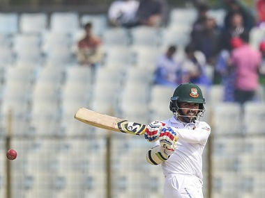 Bangladeshi cricketer Mominul Haque plays a shot during the fifth and final day of the first cricket Test between Bangladesh and Sri Lanka at Zahur Ahmed Chowdhury Stadium in Chittagong on February 4, 2018. / AFP PHOTO / MUNIR UZ ZAMAN