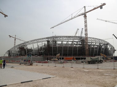 A picture taken on February 6, 2018, shows a general view of the extior of Al-Wakrah Stadium, a World Cup venue currently under construction, designed by celebrated Iraqi-British architect Zaha Hadid, some 15 kilometres on the outskirts of the Qatari capital Doha. The 40,000 capacity, $575 million (465 million euros) Al-Wakrah Stadium is expected to be one of two further 2022 venues completed this year. / AFP PHOTO / KARIM JAAFAR / RESTRICTED TO EDITORIAL USE - MANDATORY MENTION OF THE ARTIST UPON PUBLICATION - TO ILLUSTRATE THE EVENT AS SPECIFIED IN THE CAPTION