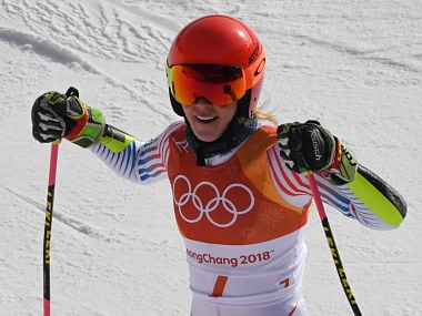 USA's Mikaela Shiffrin reacts as she crosses the finish line to win gold in the Women's Giant Slalom at the Yongpyong Alpine Centre during the Pyeongchang 2018 Winter Olympic Games in Pyeongchang on February 15, 2018. / AFP PHOTO / François-Xavier MARIT
