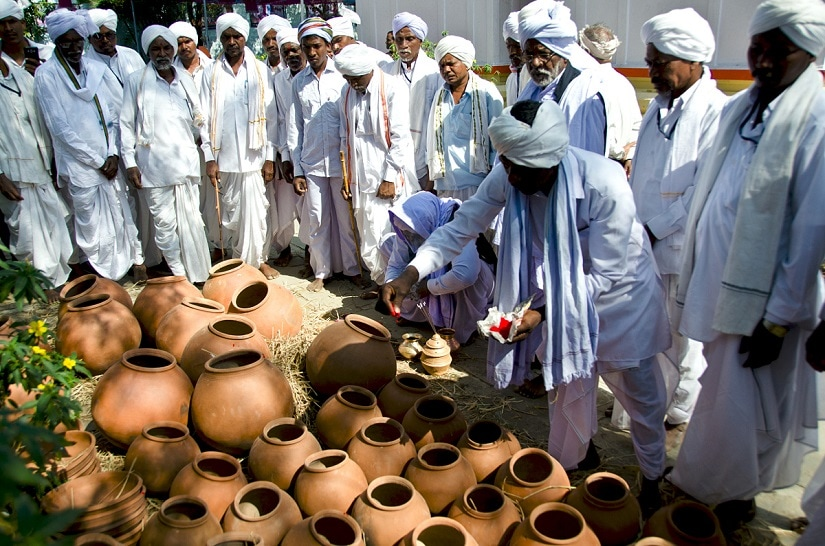 The pots are consecrated during a brief ceremony. Photo courtesy Lakshmi Prabhala