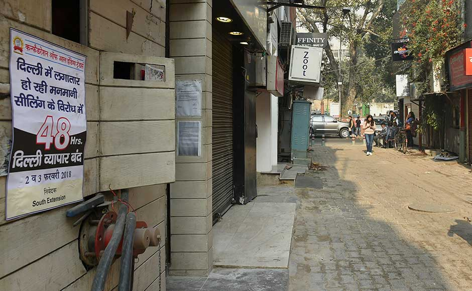 Hundreds of shops in Delhi were shut on Friday as part of a two-day bandh called by an industry body against the ongoing sealing drive by civic bodies in the city on the direction of a Supreme Court-appointed monitoring committee. PTI