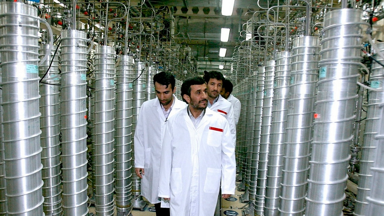 Former Iranian President Mahmoud Ahmadinejad visits the Natanz nuclear enrichment facility. Image: Reuters