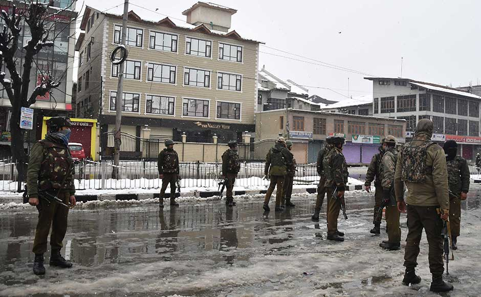 The militants holed up inside an abandoned house in Karan Nagar, in the heart of Srinagar city, after their early morning bid to storm into the camp was foiled, triggering the gunfight. The encounter has been going on for the past ten hours. Firstpost/Sameer Mushtaq