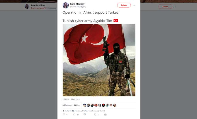 Another tweet posted on Ram Madhav's account by Turkey-based group of hackers, Ayyildiz Tim.
