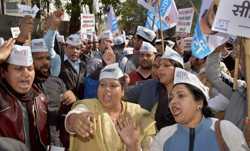 AAP party workers were seen protesting against the ongoing MCD's sealing drive. But the traders association has said they don't want parties gaining political mileage out of their plight. PTI