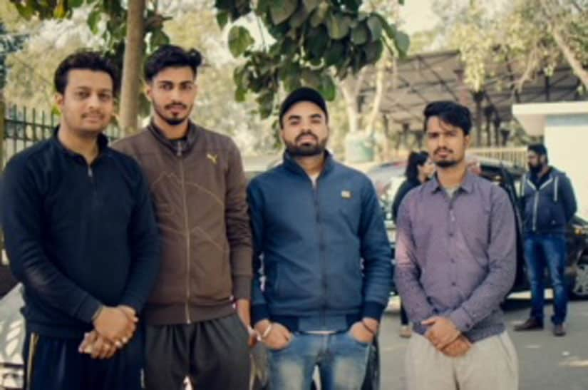 Left to Right, Ankti's cousin Ashish Duggal, friends Divyanshu Chaudhary, Sukhmeet Gill, Azher Alam. Image courtesy Sanjukta Basu