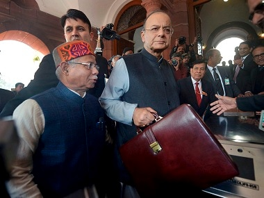 Finance Minister Arun Jaitley outside the Parliament House. PTI