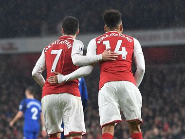 New Arsenal signings Aubameyang and Mkhitaryan will get an early taste of the north London derby atmosphere when they face Tottenham Hotspur on Saturday. Image courtesy: Twitter @Arsenal