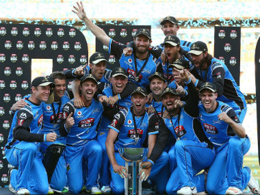 Adelaide Strikers celebrate their victory after beating Hobart Hurricanes in the final of the Big Bash League. Image Courtesy: Twitter @BBL