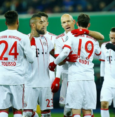 Bayern Munich's Arjen Robben celebrates scoring their fifth goal with teammates. Reuters