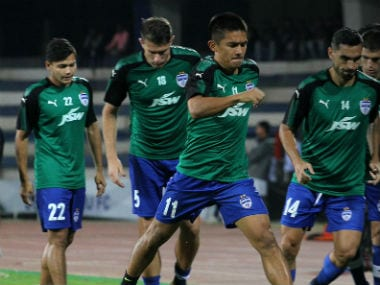 Bengaluru FC players involved in a training session. ISL