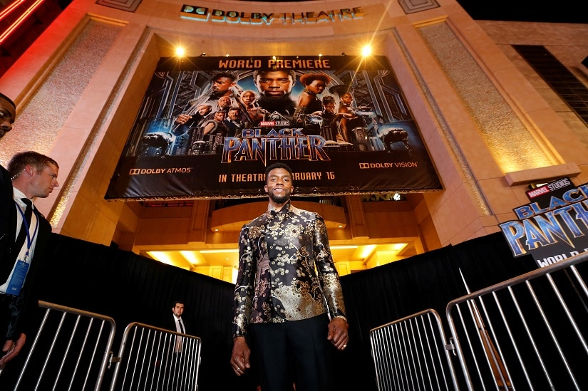 """Cast member Chadwick Boseman poses at the premiere of """"Black Panther"""" in Los Angeles, California, U.S., January 29, 2018. REUTERS/Mario Anzuoni - RC16BD1A5E40"""