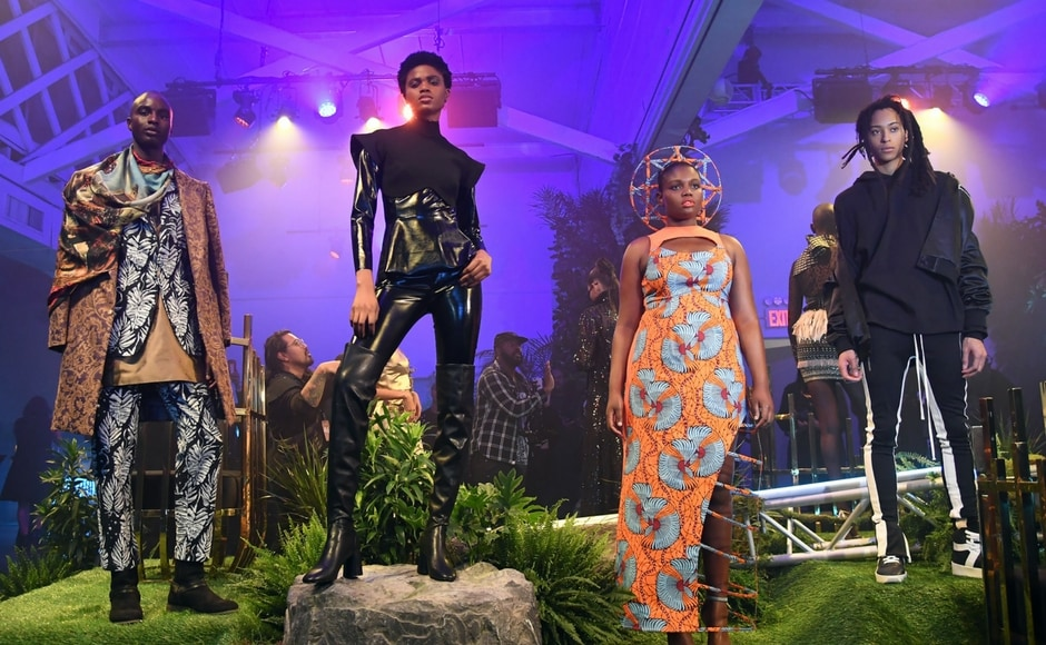 Models poses during the Marvel Black Panther fashion week celebration Welcome to Wakanda/ANGELA WEISS /AFP