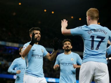 File image of Sergio Aguero and Kevin De Bruyne (R). Reuters