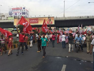 CPM workers protest against the Centre on Thursday. 101 Reporters