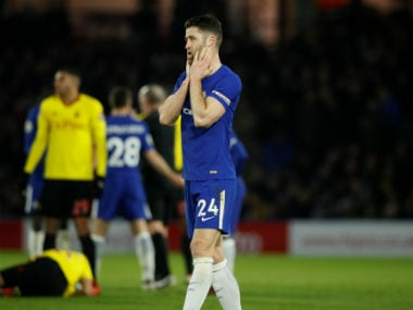 Chelsea's Gary Cahill reacts after Chelsea's Tiemoue Bakayoko is sent off against Watford. Reuters