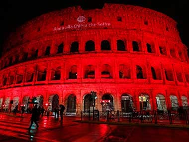 The Colosseum was lit up red to draw attention to the persecution of Christians around the world in Rome, Italy. Reuters