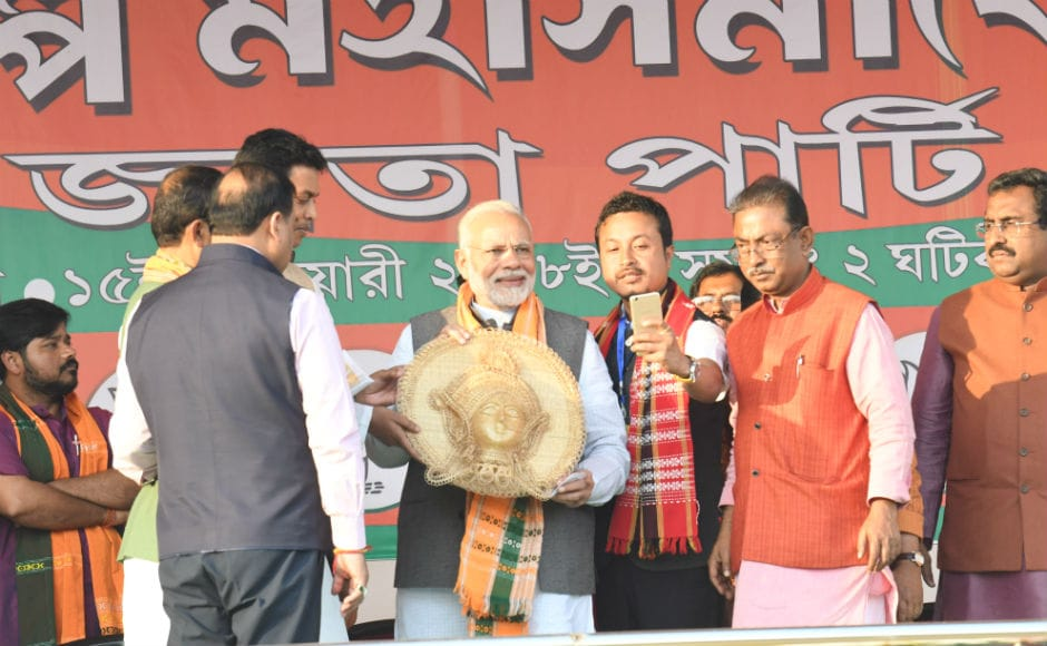 Prime Minister Narendra Modi addressed two rallies in poll bound Tripura's Shanti Bazaar and Asthabal Maidan on Thursday where he attacked the state government for resorting to political violence in the state. Team 101Reporters/Abhisek Saha