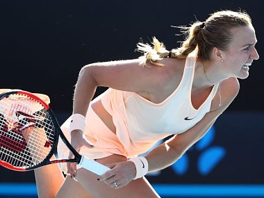 Petra Kvitova in action during her first-round match against Cagla Buyukakcay. Image courtesy: Twitter @WTA