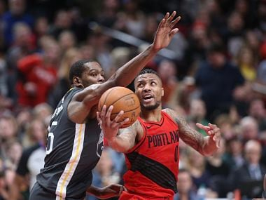 Damian Lillard scored 44 points for the Trail Blazers to help them beat the Warriors. Image courtesy: Twitter @PaulGAllen