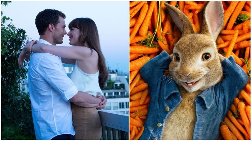 Fifty Shades Freed topped the North American box office ahead of Peter Rabbit