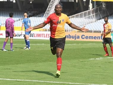 Dudu smashed four goals in East Bengal win, reviving title bid. Image courtesy: Twitter @eastbengalfc