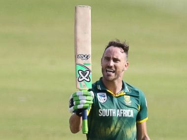 South Africa captain Faf du Plessis celebrates his century in Durban. AFP