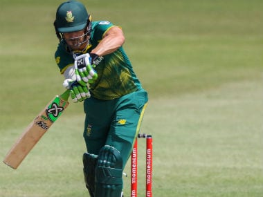 Faf du Plessis plays a shot during the first ODI between India and South Africa in Durban. AFP