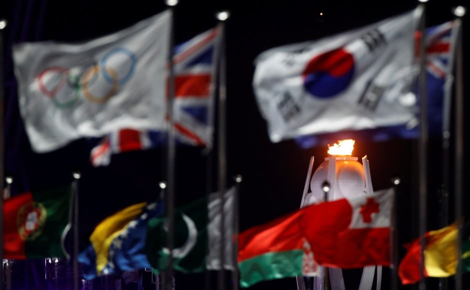 A general view shows the cauldron during the opening ceremony. Reuters