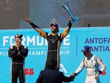 Vergne took the chequered flag, his second race win in Formula E. Reuters