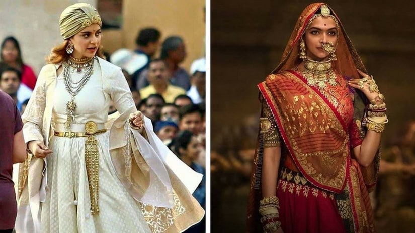 Kangana Ranaut in Manikarnika (left); Deepika Padukone in Padmaavat (right). Facebook