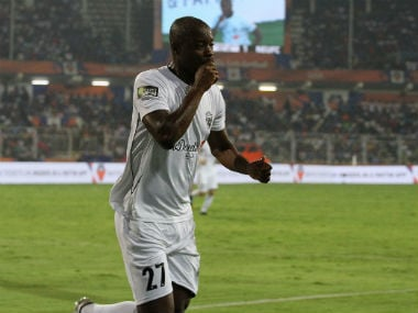 John Jairo Mosquera of Northeast United FC celebrates after scoring the equaliser against FC Goa. ISL