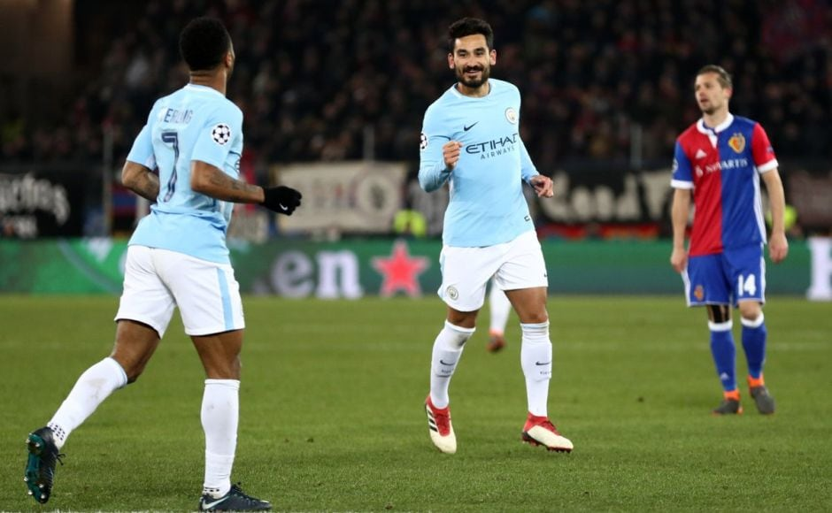 Illkay Gundogan scored a brace as Manchester City beat Basel to take an unassailable 4-0 lead to the second leg of their last 16 tie at home. Image courtesy: Twitter @ChampionsLeague