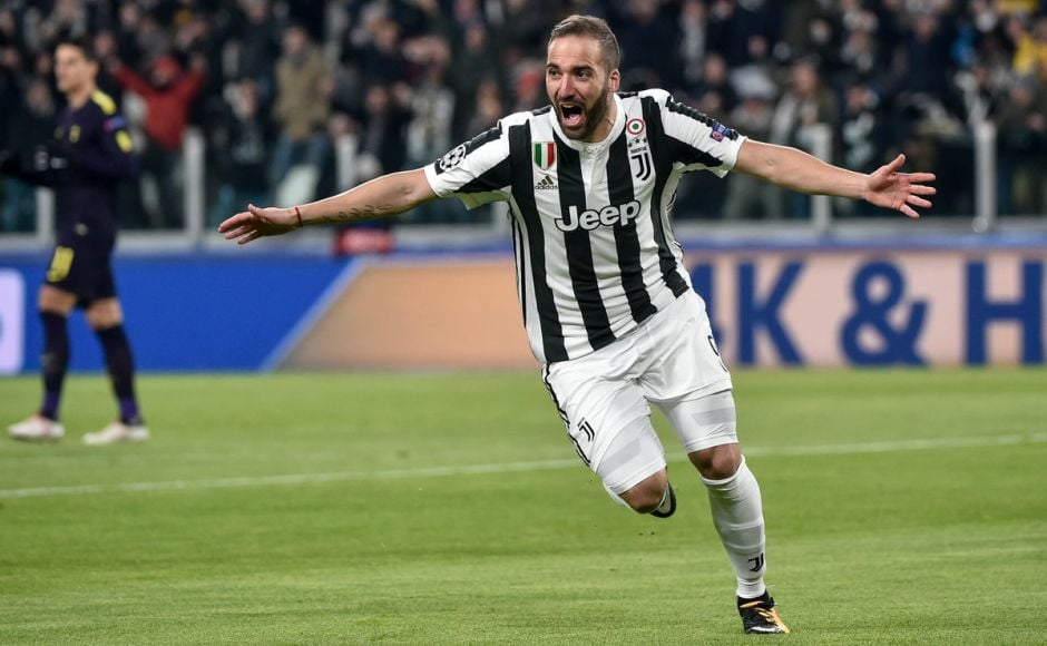 Gonzalo Higuain gave Juventus the lead in the 2nd minute and doubled it with a penalty in the 9th minute. The Argentine striker though missed a penalty in added time of the first half. Image courtesy: Twitter @ChampionsLeague