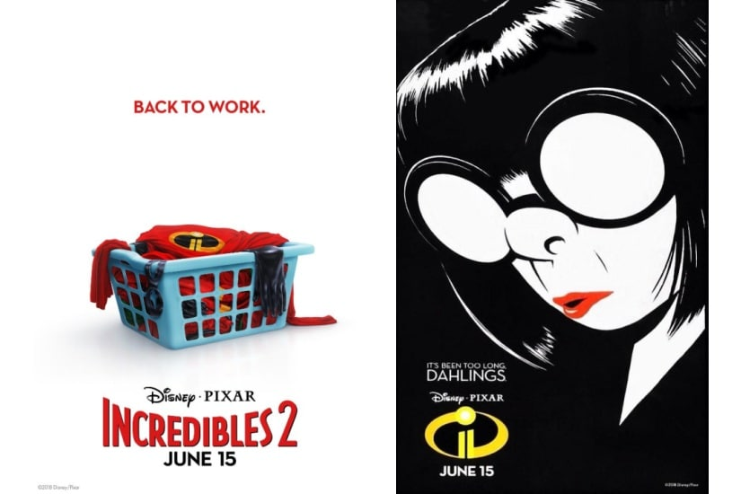 The Incredibles 2 posters. Disney