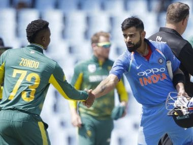 Lunch was called at Centurion with India needing just 2 runs for victory in the 2nd ODI against South Africa. AFP