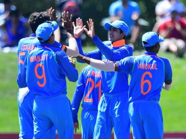Indian players celebrate during the U-19 semi-final cricket World Cup match between India and Pakistan. AFP