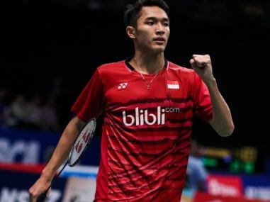 Jonatan Christie celebrates after winning his match at the Asia Badminton Team Championships. Image courtesy: BWF
