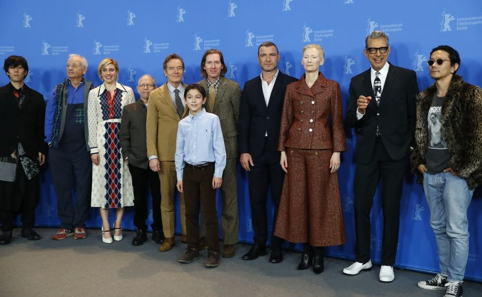 Director, screenwriter and producer Wes Anderson and cast members pose during a photocall to promote the movie Isle of Dogs at the 68th Berlinale International Film Festival. Reuters/Fabrizio Bensch