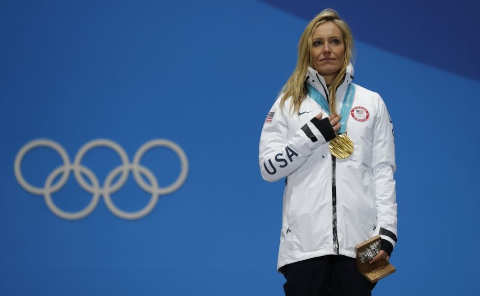 Gold medallist Jamie Anderson of the US on the podium. Anderson battled challenging cross winds that had delayed the start of the final to win her second successive Olympic gold. Reuters