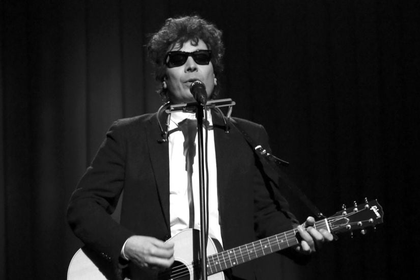 """THE TONIGHT SHOW STARRING JIMMY FALLON -- Episode 0816 -- Pictured: Jimmy Fallon as Bob Dylan performs """"The Times They Are A-Changin'"""" from Orpheum Theater in Minneapolis, MN -- (Photo by: Andrew Lipovsky/NBC)"""