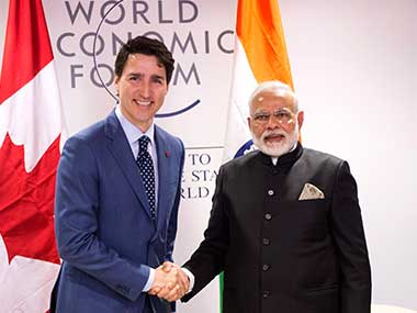File image of Justin Trudeau and Narendra Modi's meeting at Davos. AP