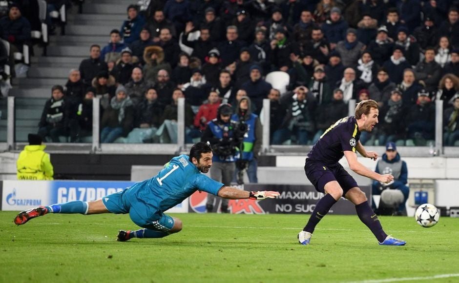 Kane pulled one back for Tottenham in the 35th minute when he latched on to a Dele Alli pass before slotting it past Gigi Buffon. Image courtesy: Twitter @ChampionsLeague