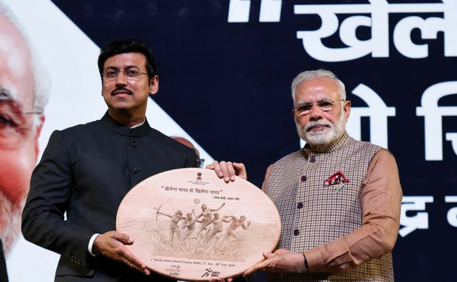 Prime Minister Narendra Modi, Olympic silver medallist and the sports minister Rajyavardhan Singh Rathore inaugurate the Khelo India School Games. Image Courtesy: Agencies